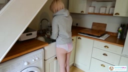 Poppy does the chores wearing pullups