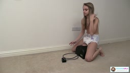 Riding the Sybian in a diaper for the first time